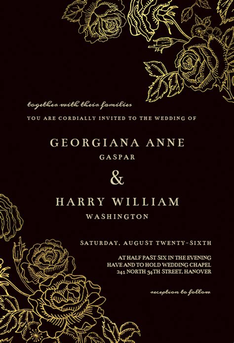 gold foil roses wedding invitation template