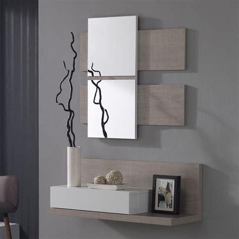 bureau de rangement meuble d 39 entre avec miroir blanc et bois avec tiroir