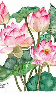 My lotus painting. Peaceful #lotus #watercolor #painting ...