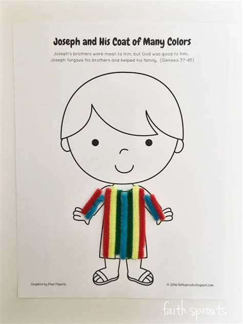 joseph and his coat of many colors printable of joseph and his coat of many colors craft for