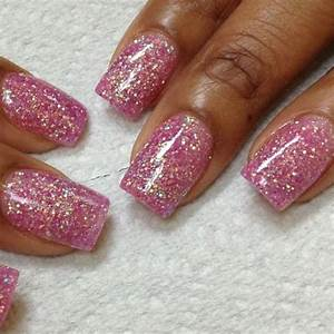 Wedding Nail Designs - Pink Glitter Acrylic Over Entire ...