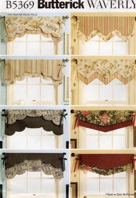 patterns for valances waverly reversible valance sew pattern window curtain ebay