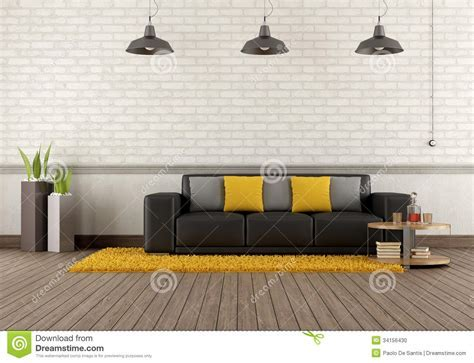 Modern Lounge With Brown Sofa Stock Illustration