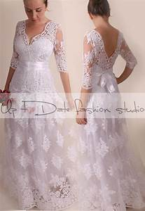 lace plus size vfront back long mxi wedding party With plus size dress for wedding reception