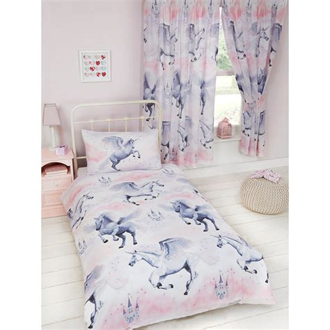 chambre 160x200 pink stardust unicorn single duvet cover pillowcase