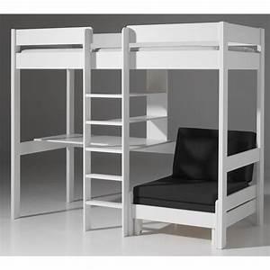 Lit Mezzanine Ado : lit mezzanine avec fauteuil pino blanc ~ Teatrodelosmanantiales.com Idées de Décoration