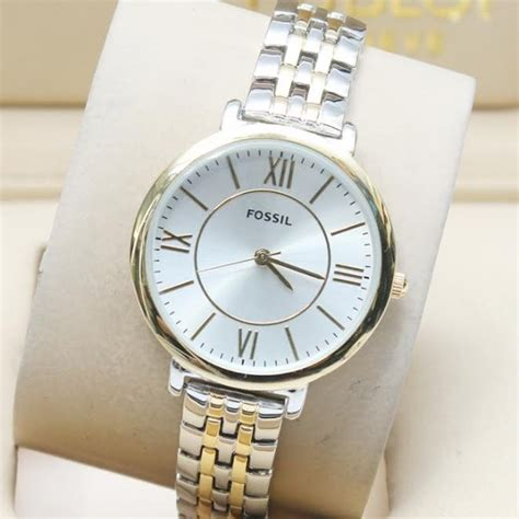 Fossil Fs02 Gold Plat White fossil stylish white gold silver for rs
