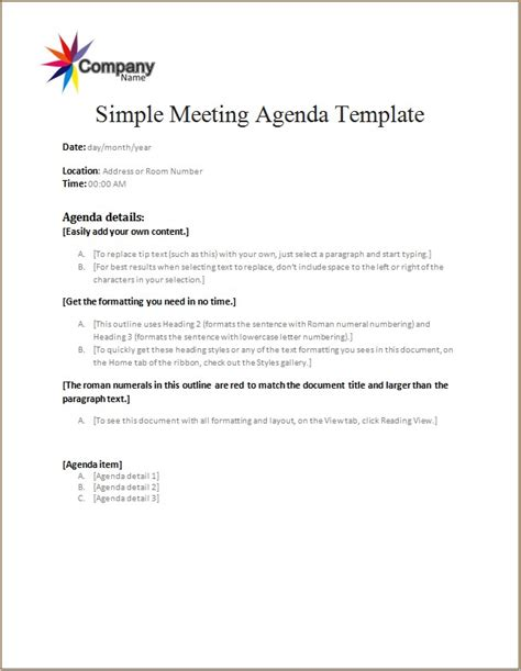 meeting agenda template word excel templates