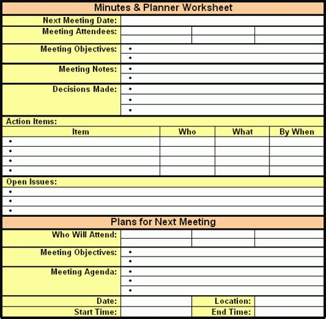 meeting minutes template excel 6 meeting minutes templates excel pdf formats