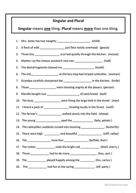 singular  plural english esl worksheets  distance