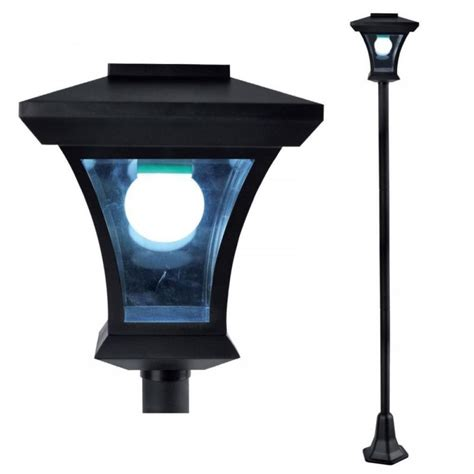 new 1 68m solar powered l post light outdoor garden
