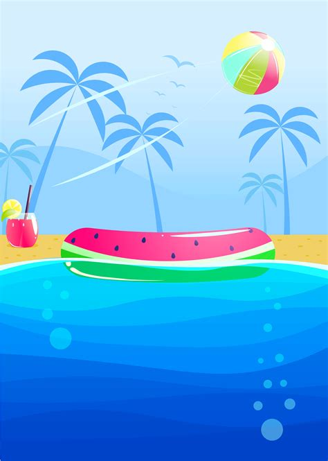 summer party banner design swimming pool