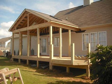 covered front porch plans porch roof framing details pro built construction deck