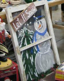 Christmas Painted On Old Window Screens