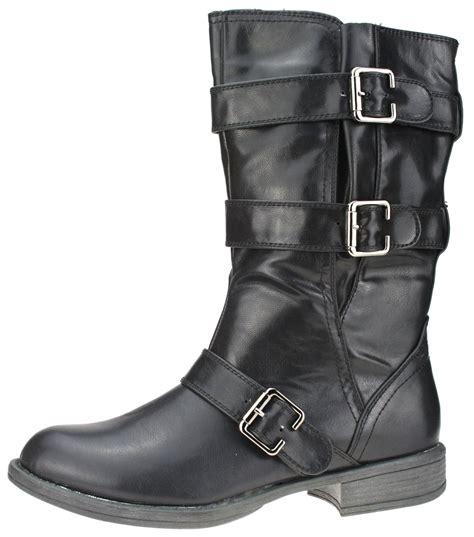 womens biker boots womens black new biker boots faux leather buckle zip up