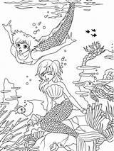 Coloring Merman Mermaid Sheets Printable Dover Publications Manga Template Adult Fantasy Adults Welcome Doverpublications Templates Travel sketch template