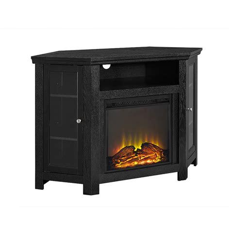"""48"""" Corner Fireplace TV Stand   Black"""