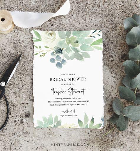 succulent bridal shower invitation template delicate