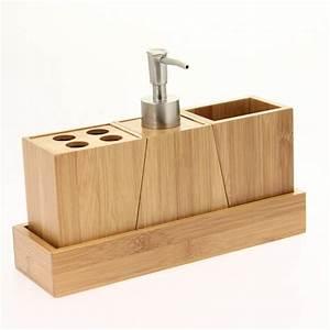 Accessoires Pour Salle De Bain : kit d 39 accessoires de salle de bain bois salle de bain ~ Edinachiropracticcenter.com Idées de Décoration