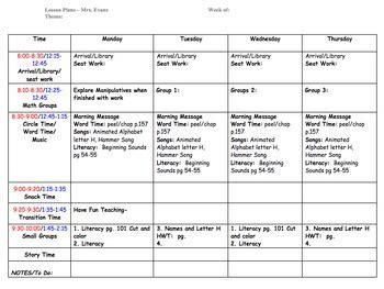preschool lesson plan template  ecdc teacher tpt