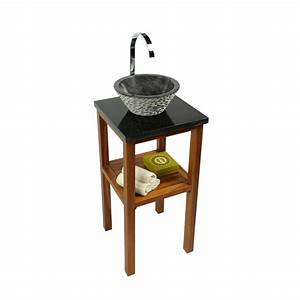 Waschtisch Aus Holz Für Aufsatzwaschbecken : teak holz waschtisch smini inkl marmorplatte schwarz ~ Sanjose-hotels-ca.com Haus und Dekorationen