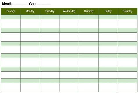 blank activity calendar template weekly activity calendar template bing images