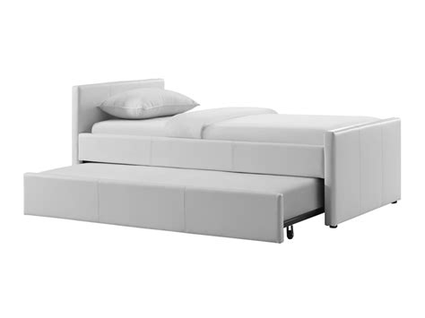 trundle bed mattress thickness duette collection white eco leather bed features a