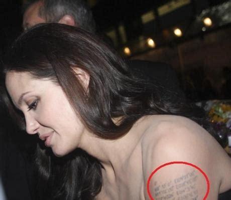 angelina jolie  ajoute deux tatouages pour la naissance