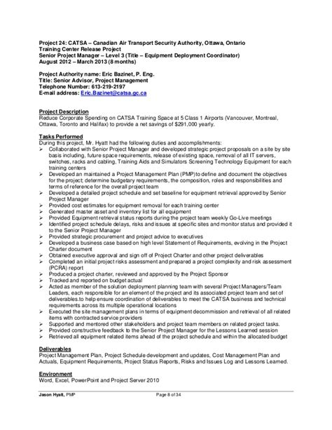 Release Project Manager Resume by Jason Hyatt Pmp Resume Project Manager 2014 11 27