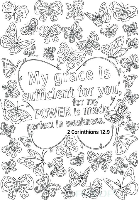bible verse coloring pages  grace  sufficient    printable coloring pages