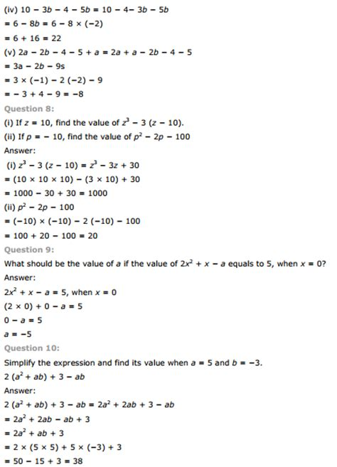 maths algebraic expressions for grade 8 worksheets free