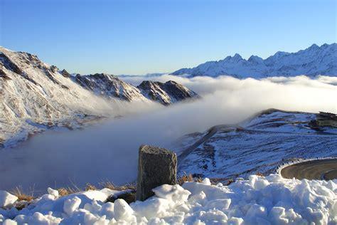 fog grossglockner alpine snow mountain sun wallpaper