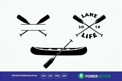 Canoe Boat Clipart by Lake Svg Canoe Boat Paddles Clip Design Bundles
