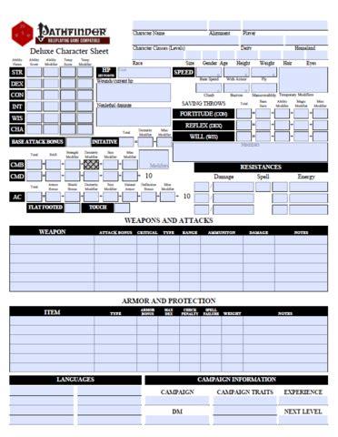 pathfinder templates printable pathfinder character sheet template business