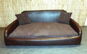 zippy faux leather sofa pet dog bed extra large brown With x large dog sofa bed