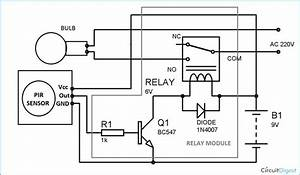 Circuit Diagram For Automatic Room Lights Using Pir Sensor And Relay In 2020