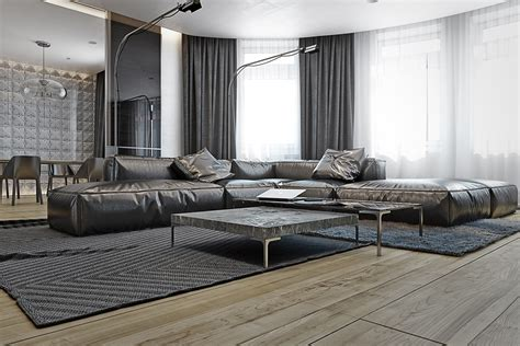 masculine apartments  super comfy sofas  sleek
