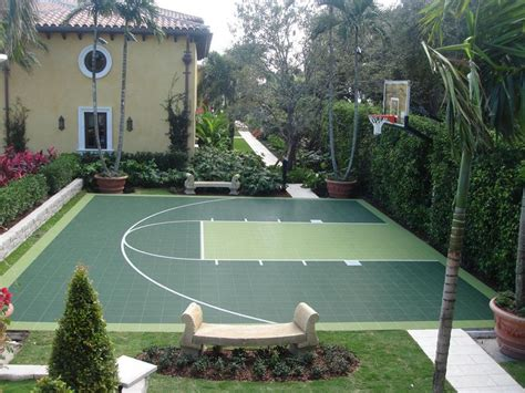How Much Does A Backyard Basketball Court Cost by Check Out This Two Tone Green Basketball Half Court Great