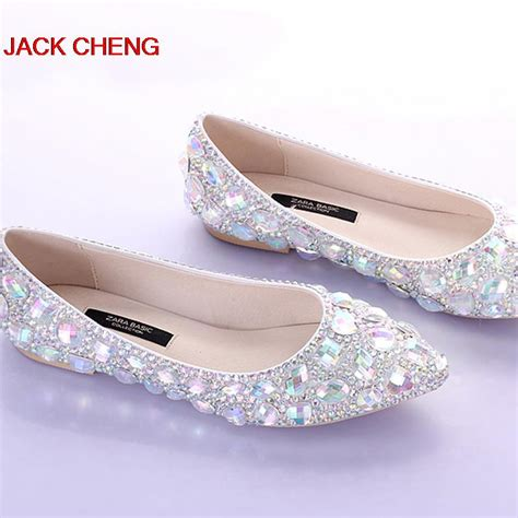 Wedding Flats by Silver Flat Heels Wedding Shoes Pointed Toe Bridal