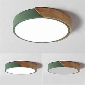 Dimmable Modern Minimalist Led Round Shaped Wood  U0026 Metal