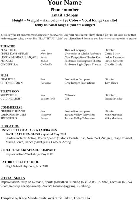 technical theatre resume template for free