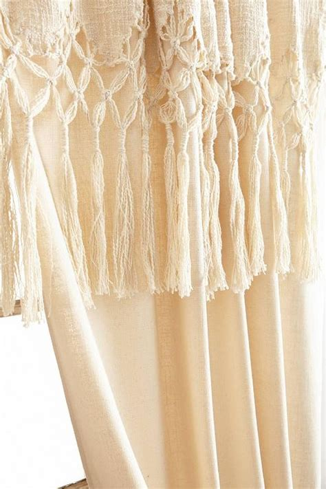 knotted macrame ivory curtain