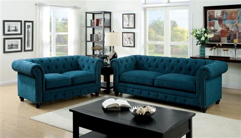 stanford dark teal fabric living room set from furniture of america cm6269tl sf coleman