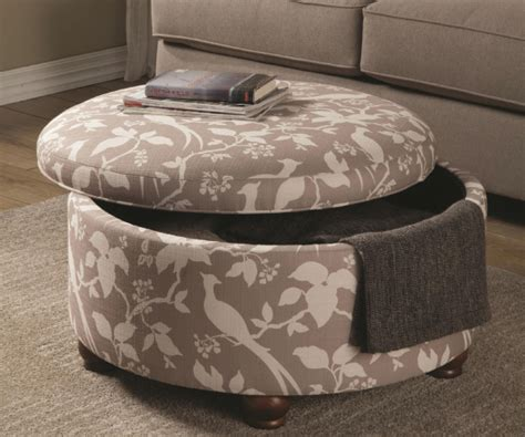 grey   white fabric  storage ottoman