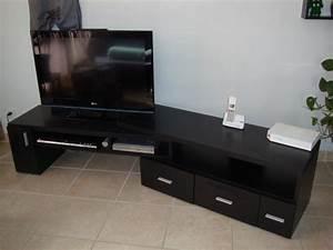 Meuble Tv Extensible : meuble tv extensible noir ~ Teatrodelosmanantiales.com Idées de Décoration