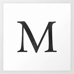 Letter M Initial Monogram Black And White Art Print By