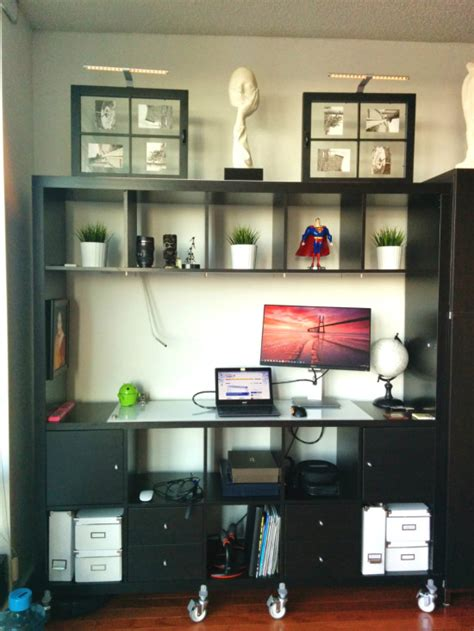movable expedit standing desk  storage ikea hackers