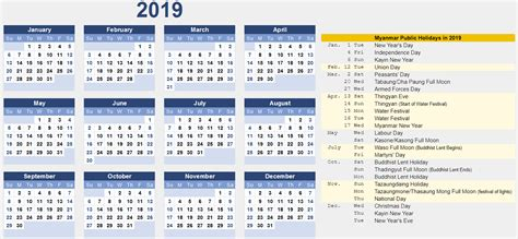 myanmar calendar samples excel word public holidays