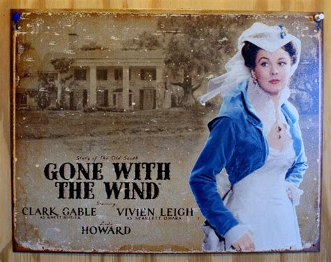 scarlet ohara    wind tin sign clark gable