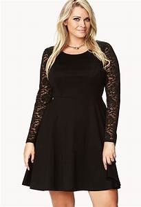 Forever 21 Fancy Lace Sleeve Skater Dress in Black | Lyst